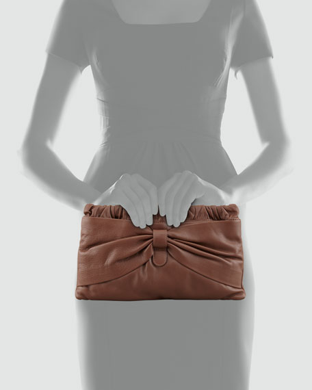Leather Bow Clutch Bag, Brown