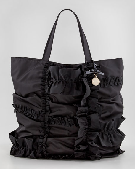 Ruffled Nylon Tote Bag, Black