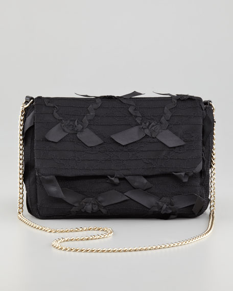 Ribbon-Lace Chain Shoulder Bag, Black