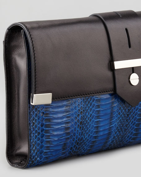 Makenna Watersnake Clutch Bag