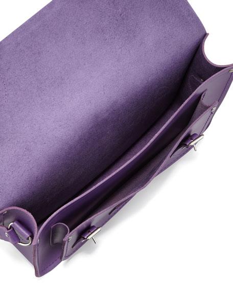 "13"" Core Leather Satchel, Purple"