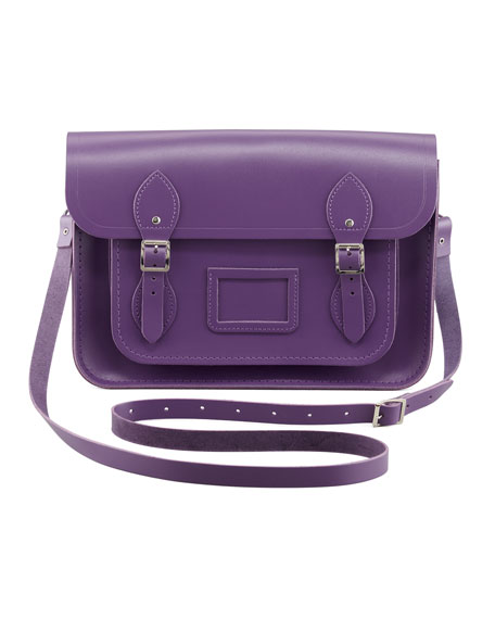 "13"" Core Leather Satchel, Purple"