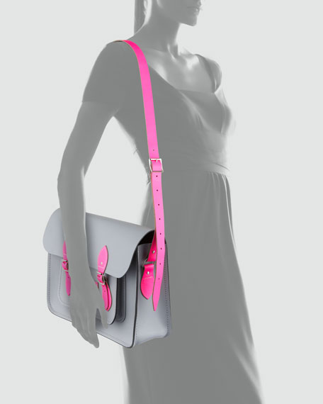 "15"" Leather Satchel, Gray/Fluoro Pink"