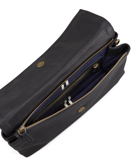 Trisha Leather Clutch Bag, Black