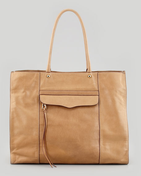 MAB Leather Tote Bag, Fatigue Taupe