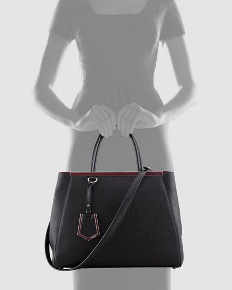 2Jours Bicolor Medium Tote Bag, Black
