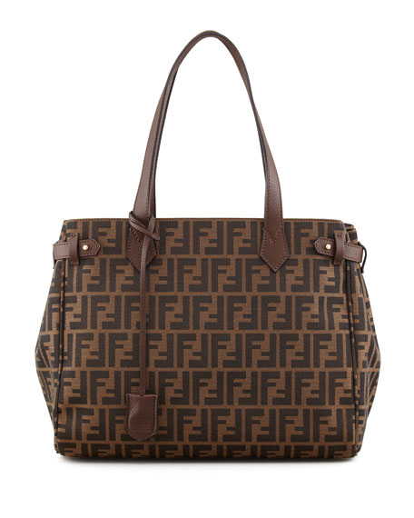 Zucca Side-Tab Shopping Tote Bag, Brown
