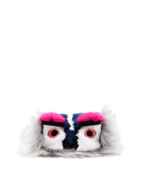 Baguette Fur Bird Mini Bag, Gray/Blue/Pink