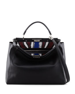 Fendi Peekaboo Sequin-Lined Handbag, Black