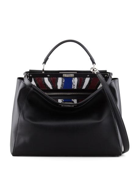 Peekaboo Large Sequin Lined Satchel Bag, Black