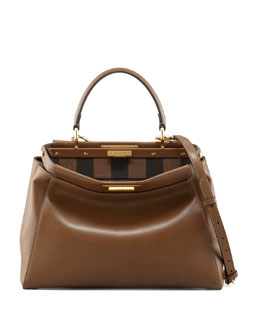 Fendi Peekaboo Pequin-Lined Medium Satchel Bag, Brown