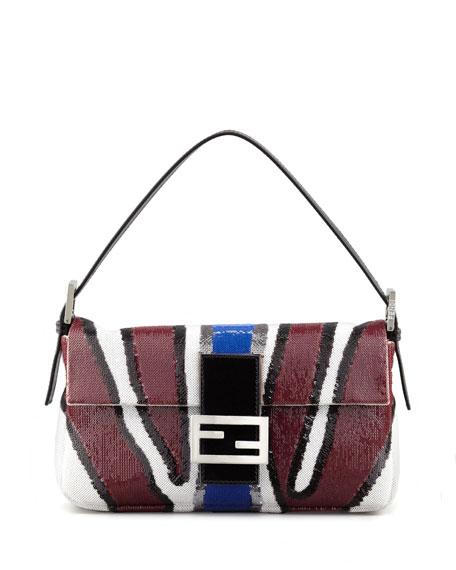 Zebra-Stripe Sequined Baguette Bag, Wine