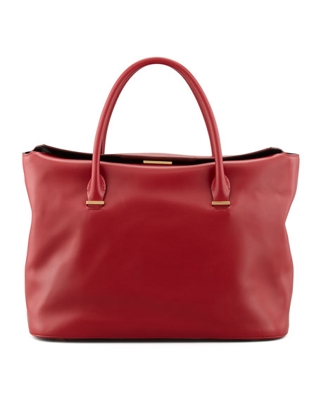 The Carry All Leather Tote Bag, Ruby