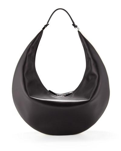 The Row Bicolor Zip Hobo Bag, Black/White