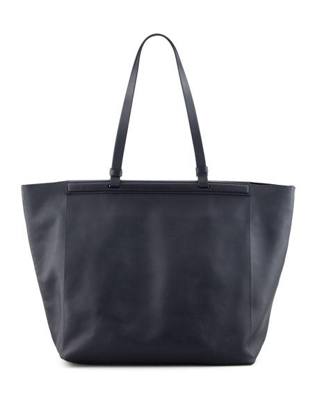 The Shopper Calfskin Tote Bag, Navy