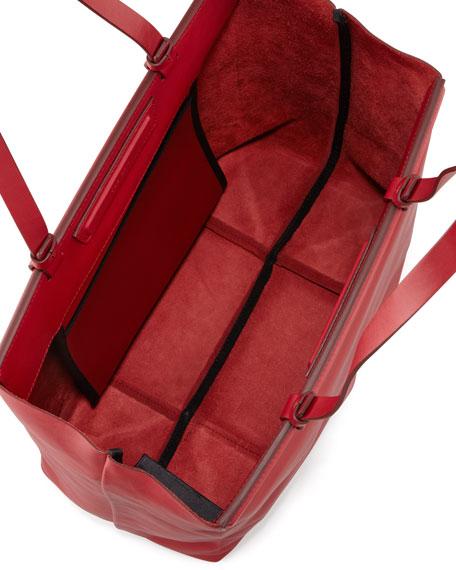 The Shopper Calfskin Tote Bag, Ruby