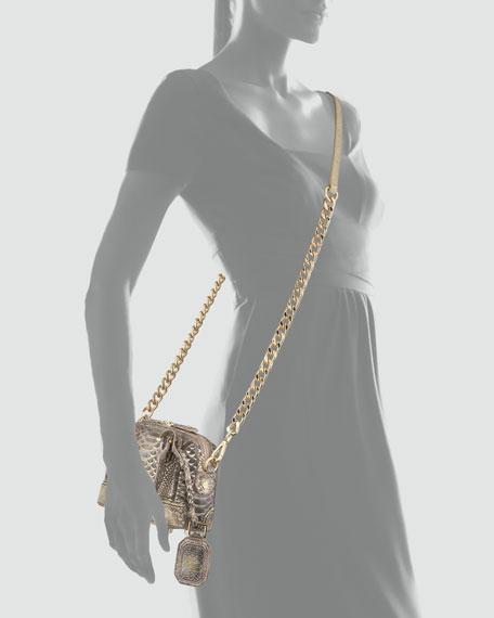 Olivia Mini Snake-Embossed Metallic-Tipped Bag, Black/Gold