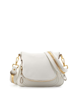 Tom Ford Jennifer Medium Leather Crossbody Bag, White