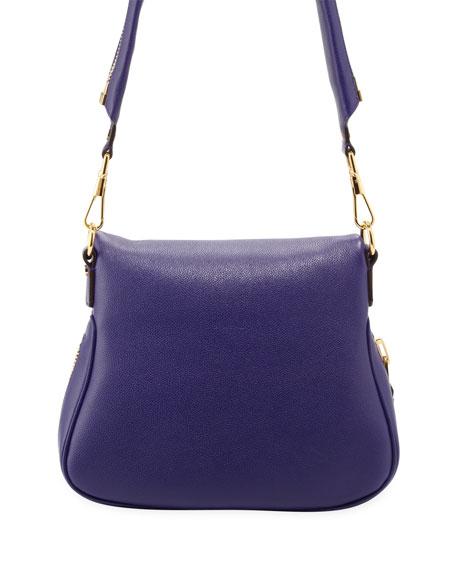 Jennifer Medium Leather Crossbody Bag, Purple
