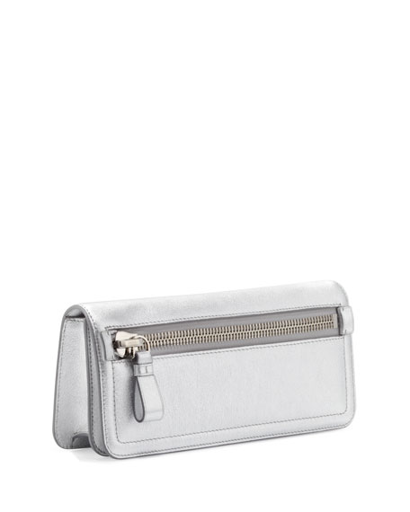 Jennifer Metallic Zip Clutch Bag, Silver