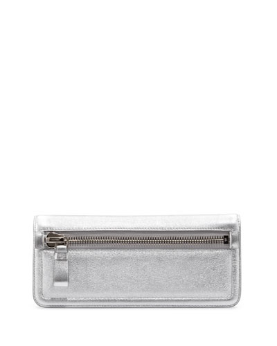 Tom Ford Jennifer Metallic Zip Clutch Bag, Silver