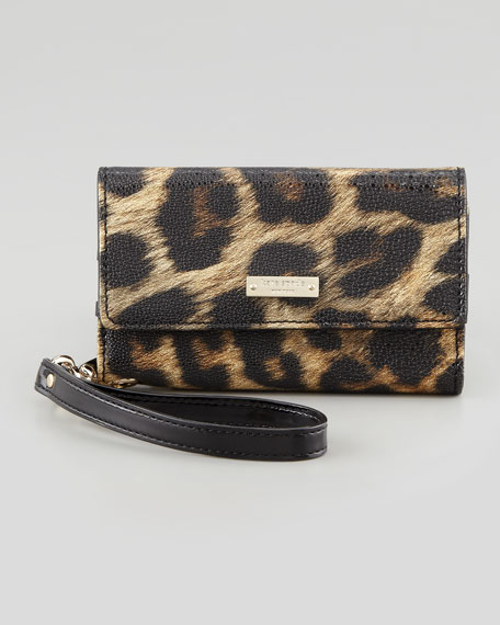Leopard-Print iPhone Wristlet Wallet