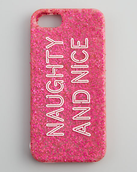 naughty and nice iPhone 5 case, pink