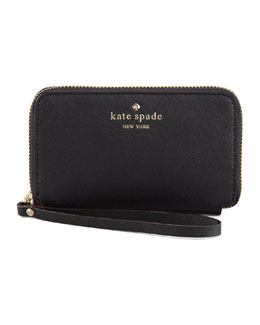 kate spade new york cherry lane louie wristlet wallet, black