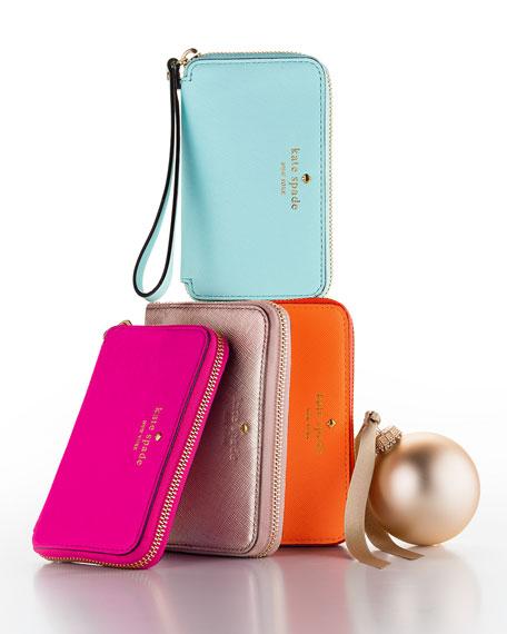 cherry lane louie wristlet wallet, pink