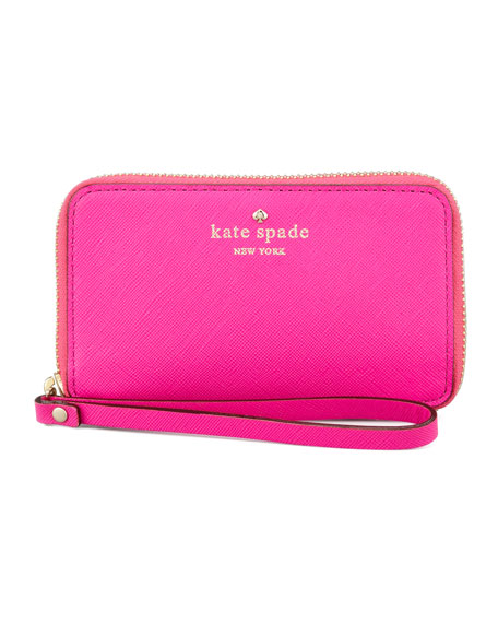 cherry lane louie wristlet wallet, pink
