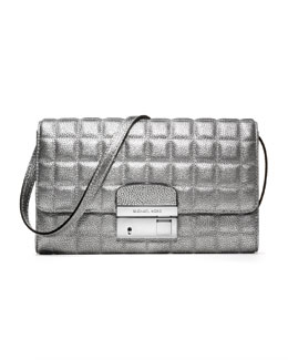 Michael Kors  Gia Metallic Quilted Leather Clutch