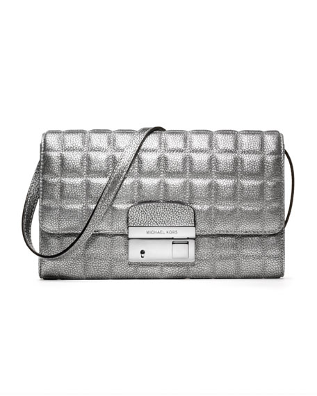 Gia Metallic Quilted Leather Clutch