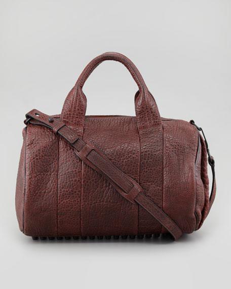 Rocco Stud-Bottom Satchel Bag, Raisin