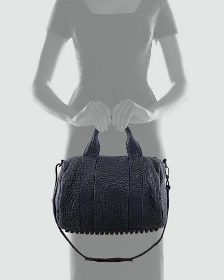Rocco Stud-Bottom Satchel Bag, Navy