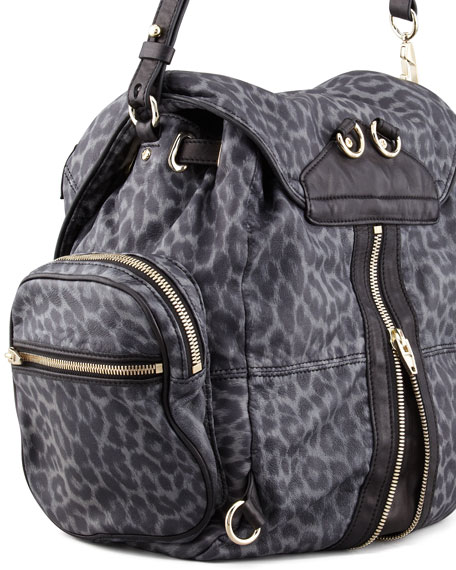 Marti Convertible Leopard-Print Backpack