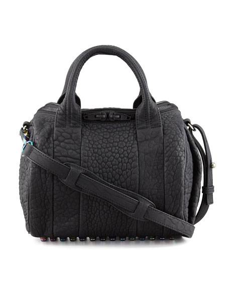 Rockie Small Crossbody Satchel, Black/Iridescent