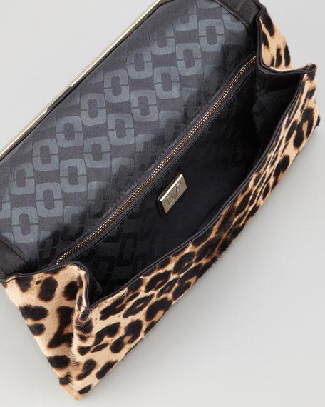 440 Leopard-Print Calf Hair Clutch Bag