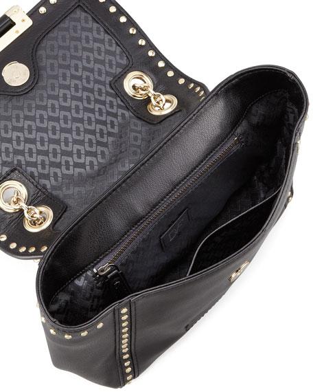 440 Mini Studded Flap-Top Crossbody Bag, Black