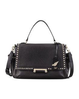Diane von Furstenberg Highline Courier Facet-Stud Satchel Bag, Black