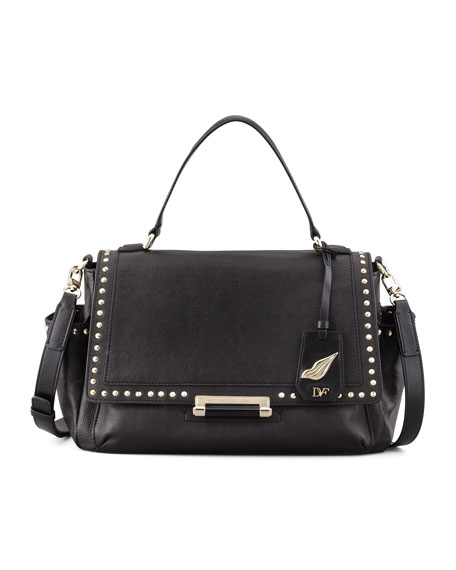 Highline Courier Facet-Stud Satchel Bag, Black