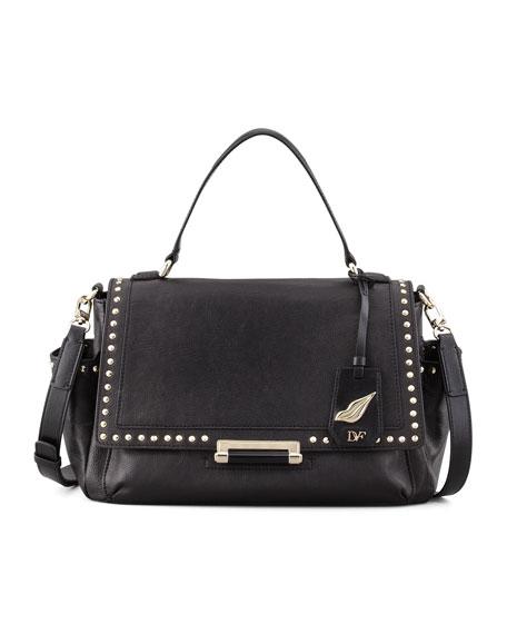 Highline Courier Facet-Stud Satchel Bag, Black