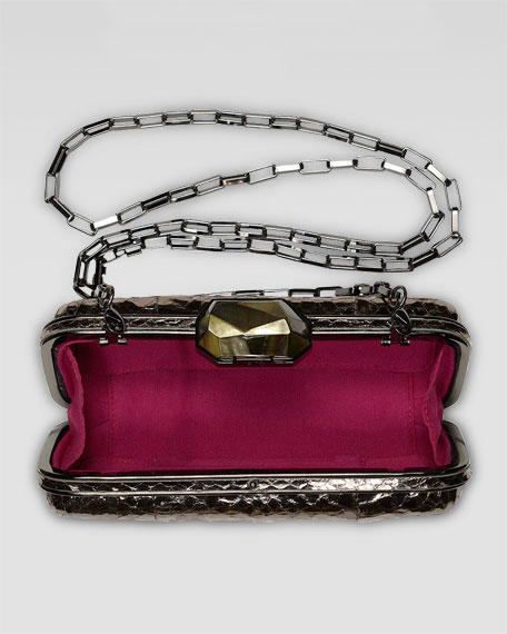 Demi Metallic Watersnake Box Clutch Bag