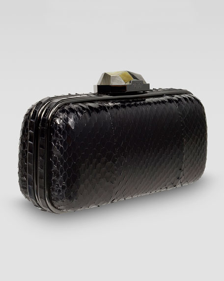 Watersnake Demi Box Clutch Bag, Black