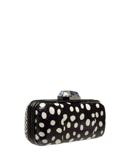 Demi Small Snakeskin Clutch Bag, Black/White