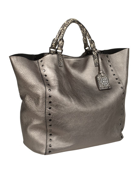 Joey Large Metallic Tote Bag, Gray