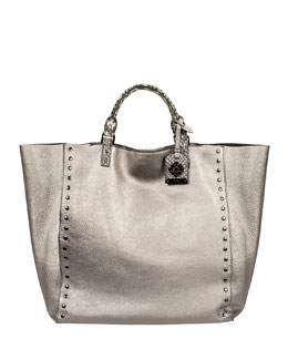 Rafe Joey Large Metallic Tote Bag, Gray