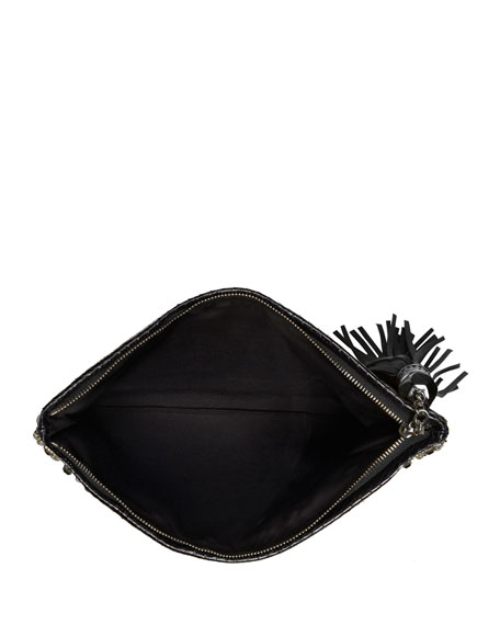 Celia Large Satin Clutch Bag, Black