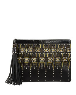Rafe Celia Large Satin Clutch Bag, Black
