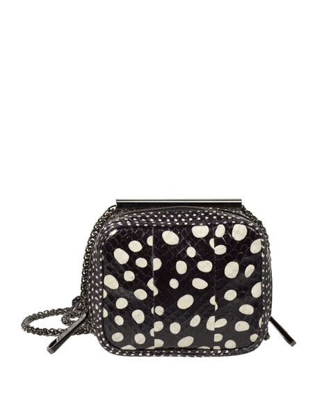 Laureen Small Snakeskin Crossbody Bag, Black/White