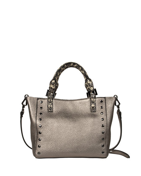 Joey Mini Leather Tote Bag, Metallic Gray